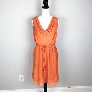 Yumi Kim Orange Pleated Sleeveless Dress